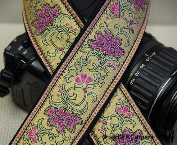 Camera Strap Custom Padded 2 in. Wide Leaf Flower DSLR SLR