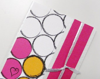 Valentine Card Fuchsia Pink Yellow White Greeting Card Wedding Card Engagement Card 2 Hearts 2 Circles Greeting card with envelope - OOAK