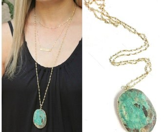 Long Necklace Green Ocean Jasper, Statement Necklace, Long Pendant Necklace, Long Layering Necklace, Thin Gold Necklace Long Stone Necklace