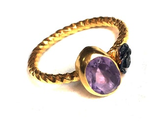 A Rose and Amethyst Stone gold vermeil silver ring