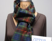 Secret Agent Scarf Infinity Design with Zipper Pocket Paid Flannel Dark Blue Green Red