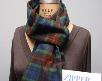 Secret Agent Scarf Infinity Design with Zipper Pocket Paid Flannel Dark Blue Green Red