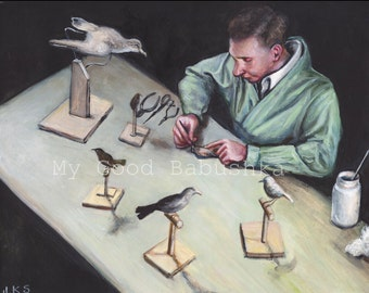 Mounting Birds for the Ornithological Exhibit, Original Painting, Taxidermy, Birds, Natural History, Museum, Aviary, Science, Biology