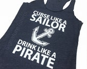 Sailor Drink like a Pirate Tank Top. Nautical tank top. Womens tank top. Summer fashion. Birthday gift. Gift for sister. Mothers Day Gift