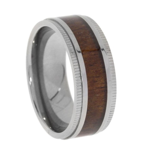 koa wood ring titanium wedding band with by jewelrybyjohan