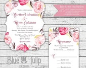 Pink and Gold Watercolor Floral Invitation, Shaped