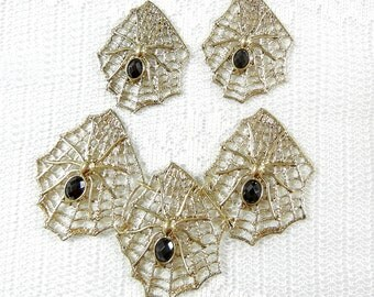 Set of Gold-tone Web and Black Acrylic Faceted Spider Pendant and Charms