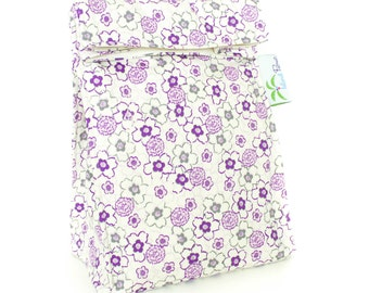 Purple Floral Organic Lunch Bag - Organic Cotton, Eco Friendly, Fully Insulated - Back to School Waste Free