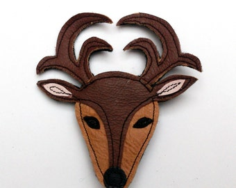 Stag deer reindeer recycled leather brooch .... WORLDWIDE FREE SHIPPING