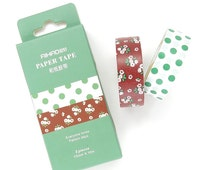 Paper Tape Set - 2 Rolls - 15mm x 10 Metres - Floral Washi Tape - Washi Tape Pack - Washi Tape Set - Washi Tape Australia - Polka Dot Washi