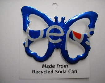Butterfly Magnet Recycled Soda Pepsi Can