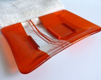Large Fused Glass Soap Dish in Orange by BPRDesigns