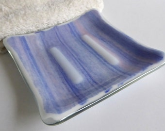 Square Soap Dish in Blue, White and Pink Streaky Fused Glass