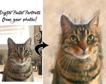 Custom Cat Art, Custom Pet Portrait, Cat Portrait, Custom Cat Portrait, Cat Art, Pet Portrait, Cat Painting, Custom Cat Art, Custom Dog Art