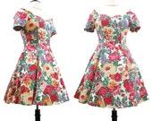 Vintage 80s 90s Dress Off-shoulder Floral Mini Party Day S