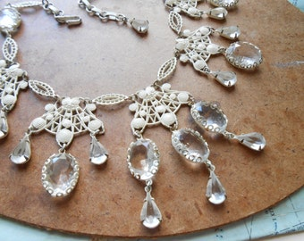 white chippy enamel filigree and glass stone bib necklace - vintage 1960s wedding costume jewelry