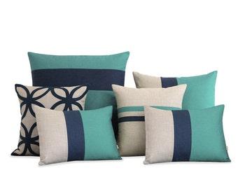 Mint & Navy Blue Pillow Cover Set of 6 - Decorative Pillows, Blue Pillows by JillianReneDecor - Modern, Luxury, Linen, Geometric Decor