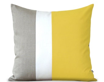 Lemon Yellow Color Block Pillow with Cream and Natural Linen Stripes by JillianReneDecor (20x20) Bright Home Decor, Spring Summer, Buttercup