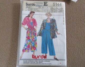 Vintage BURDA Sewing Pattern Size 10 - 18 Full Split Skirt Culottes Mid Calf Pants Wide Leg UNCUT high waist Very Loose Jacket Tie Top