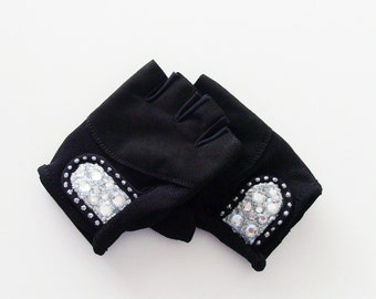Bling Fingerless Gloves / Ladies Black Vegan Suede Leather Fitness Gloves With Black or Silver Rhinestones  / Made-To-Order Gift Under 50