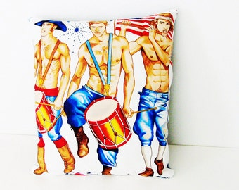 Patriotic Guys Pillow / Red, White & Blue Patriotic Pillow / Drums - Fife - Shirtless Men Marching / 11 X 14 Inches / Fun Gift Under 30