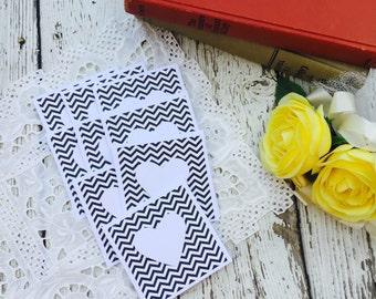 Mini Heart Cards Black Chevron Collection Set of 9
