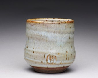 handmade pottery cup, ceramic tumbler, teacup, yunomi with light blue and creamy white wood ash glazes