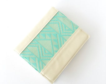 Bible Cover, Custom made to fit your bible - Genuine Cream Colored Leather with Teal Lace Accent