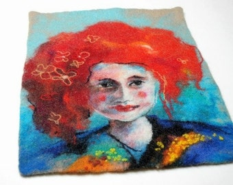 Felted painting of wool. Felted wall hanging picture. Red-haired. OOAK.