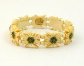 Vintage Edelweiss Bracelet, Carved Bone Bracelet, Stretch Bracelet, Hand Painted, Expandable Bracelet, Carved Flower Bracelet