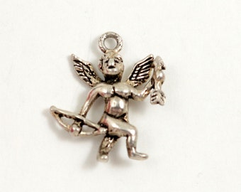 Sterling Silver Cupid Charm Cupid with Bow and Arrow Cupid Pendant Valentine Charm Love Charm Bracelet Charm Cherub Charm Angel Charm