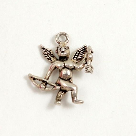 Vintage Sterling Silver Cupid Charm Pendant