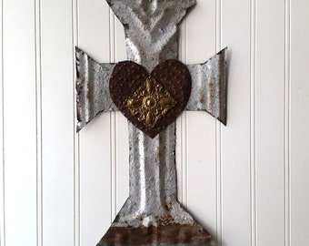 Large antique tin cross with rusty antique heart hand cut silver tone wall decor French Country Southwest Religious Farmhouse cottage