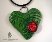 Paper Clay Green Heart Pendant