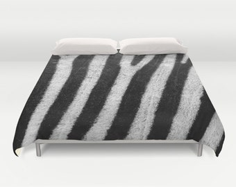 ZEBRA Animal Print Duvet Cover, Made to Order, Zebra Print Decorative Bedding, Comforter Cover, Bedroom, Black White, Nature Duvet Cover