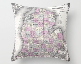 Antique Michigan Map Throw Pillow, Vintage Map Pillow, Old Michigan Map Decor, Office Pillow, Office Decor, Geography, Michigan Pillow Case