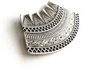 1pc- Matte Silver Plated Base Exotic  Filigree Pendant - 85x50mm-(414-033SP)