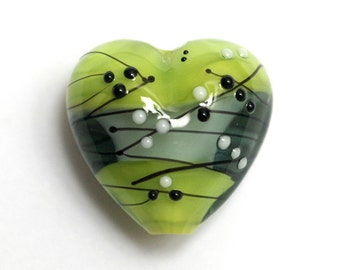 Handmade Glass Lampwork Bead - 11835405 May Day Party Heart