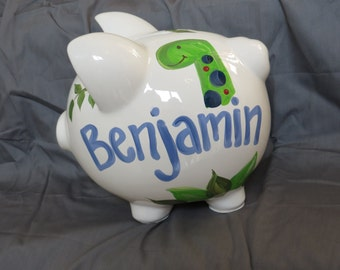 piggy bank hand painted personalized dinasaur