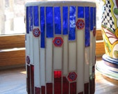 Stained Glass Mosaic Candle Holder-Patriotic-Red-White-Blue-Glass Art-Mosaic Art-Millefiori Bead-Decorative Jar-Storage Jar-Home Decor