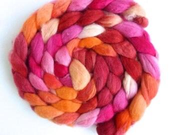 BFL Wool Roving - Hand Painted Spinning or Felting Fiber, Sherbet