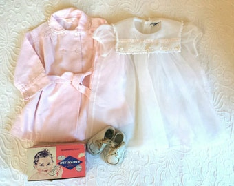 Vintage Baby Clothes Wardrobe Attire Dress Robe Shoes 12 months