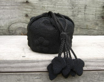 Hauntingly Beautiful Rare French Acorn Petal Mourning Purse Unique and Eccentric Hexagon Design Victorian Opera Formal Beaded Black