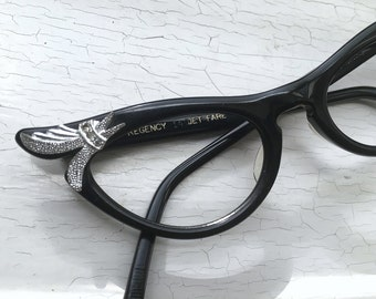 Petite Fit 50's Pinup Cat Eye Eyeglass Frames Black Silver Rhinestones Pointy Swag Back Thennish Vintage Pin Up
