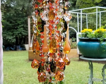 Fall Equinox Antique Crystal Wind Chime, Autumn Crystal Wind Chime, Fall Suncatcher, Garden Decoration, Home Decor