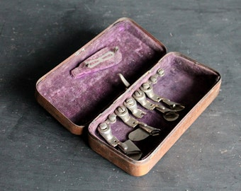 Vintage Copper and Velvet Sewing Machine Accessories Box, Attachments Sewing Foot