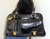 Coach Boston bag, top zip handbag,cross body bag, shoulder purse, embellished handmade tassel  distressed vachetta  leather  vintage
