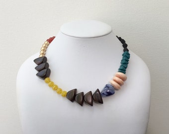 Necklace 2.23 - handmade beaded colorful asymmetrical one of a kind statement necklace featuring vintage glass lucite wood ceramic beads