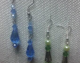 Crystal and glass beaded  dangle earrings