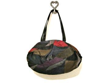 Leather Bag, LaCovina Patchwork Leather Purse, Vintage Leather Bag